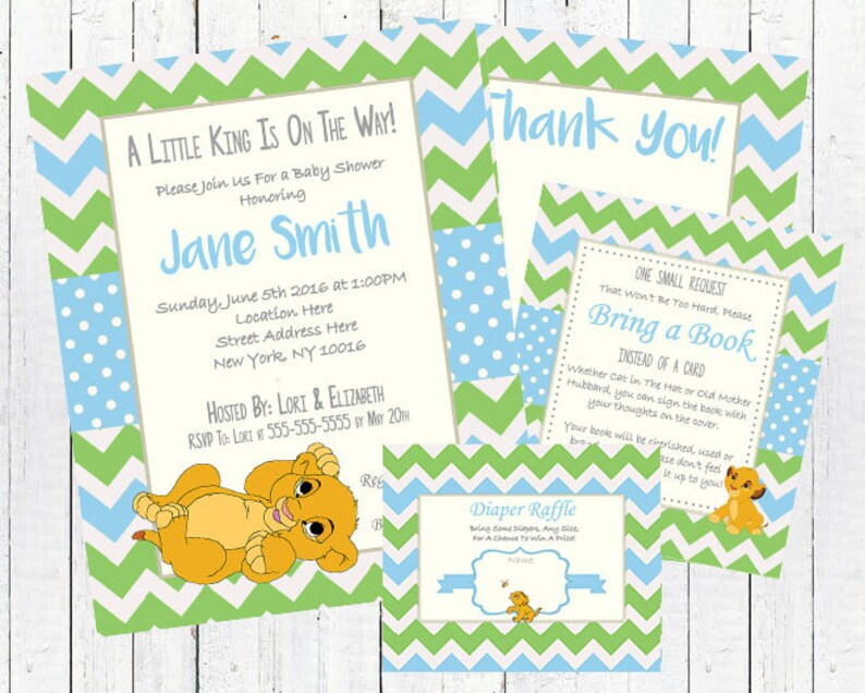Lion King Baby Shower Invitation Set - PDF Kit & jpeg