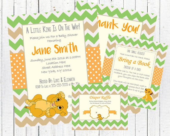 Lion King Baby Shower Invitation Card Set - PDF Kit & jpeg
