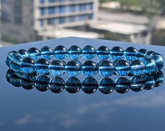 "NEW! Blue Topaz, ""Unbreakable Peace & Serenity,"" Bead Bracelet for Men (On Stretch) 8mm, 2A Quality, ORIGIN: Brasil"