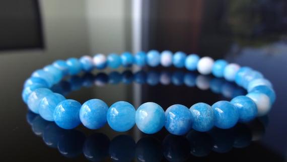 Dominican Blue Larimar beaded Bracelet ocean gemstone flexible B0062