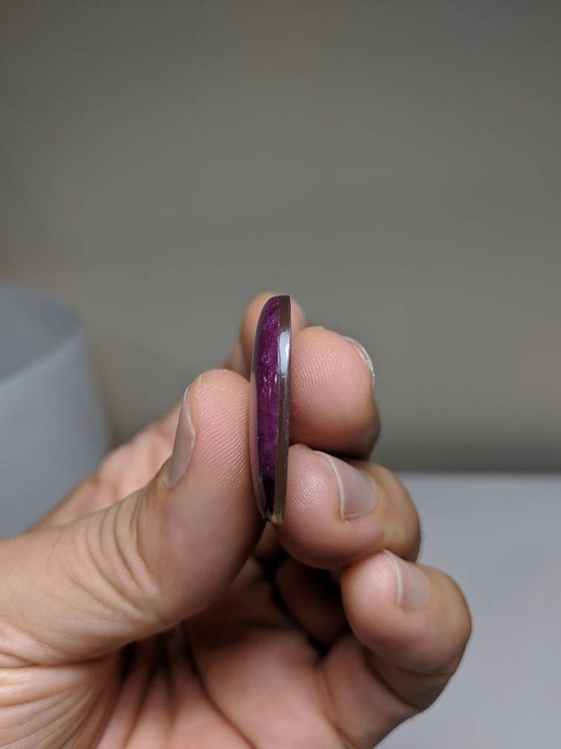 5.5 Grams of Natural Ruby Zoisite Oval Cab Excellent Chatoyant!