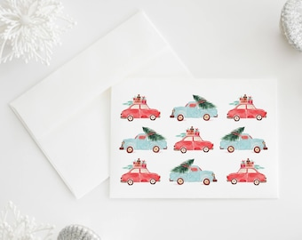 Set of 8 Vintage Holiday Cars Christmas Cards, Illustrated Christmas Trees & Presents, Watercolor, Happy Holidays
