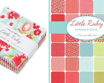 cream  colorways 4 fat quarters..Little Ruby...by Bonnie and Camille..Moda Fabrics. 4 fat quarters..aqua