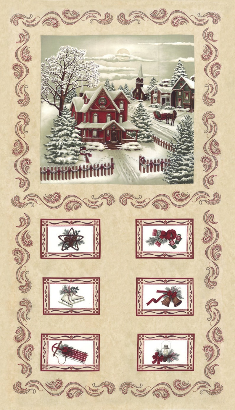 Once Upon A Memory Fabric Blocks Panel by Holly Taylor Holiday Premium Cotton