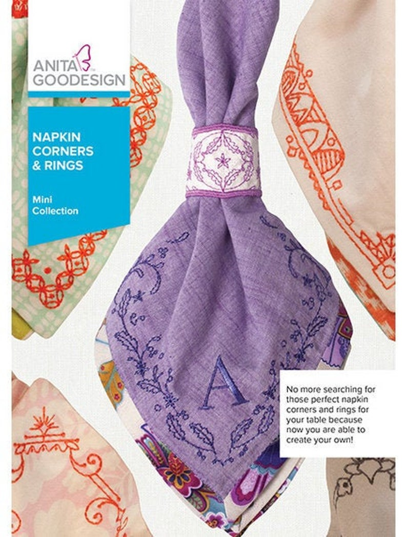 Napkin Corners /& Rings Anita Goodesign Machine Embroidery New Boxed CD Collection