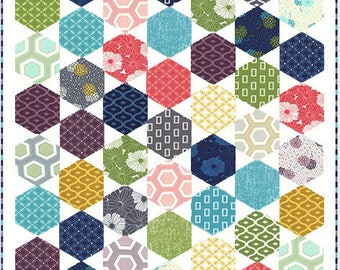 Happy Go Lucky QUILT KIT - Moda Fabric by V & Company + Quilt Pattern // Easy enough for beginner sewers