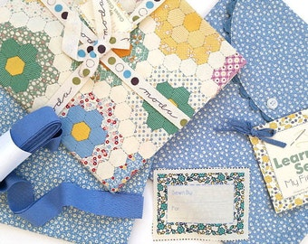 Learn to Sew MY FIRST QUILT Kit - Blue // Moda Fabric + Quilt Pattern + Quilt Label + Pillow Cover and More