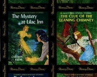 Get A Clue Nancy Drew FABRIC PANEL - BLACK / Quilt Blocks Rare Moda Fabric Book Covers