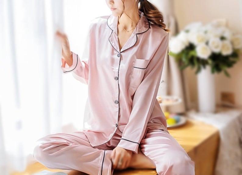 Satin Pajama Set pink pajama set bridesmaid pj set Womens  d27302c8bd