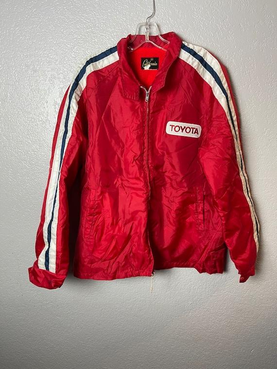 Vintage 1970's Toyota Racing Stripe Jacket Red XL