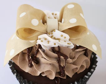 Jumbo Faux Cupcake ~ Mocha Chocolate Fudge ~ Photo & Place Card Holder, Party Wedding Favors Decorations