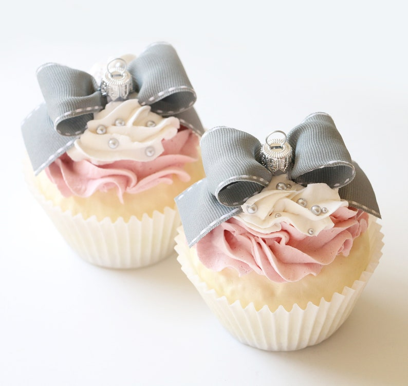Jumbo Faux Cupcake Ornament ~ Pink /& Grey Pearl ~ Holiday Party Wedding Baby Shower Favors Decorations