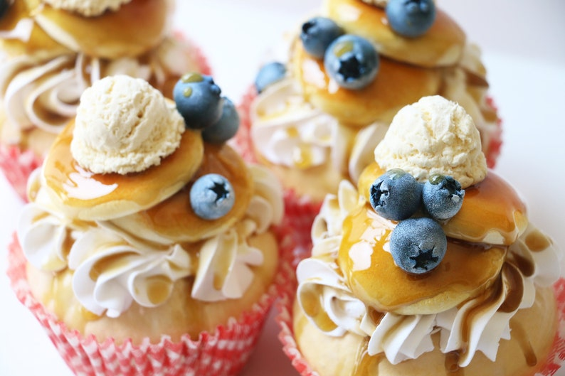 Faux Blueberry Pancake Scented Jumbo Faux Cupcake PhotoNote-Holder ~ Party Wedding Baby Shower Favors Decorations