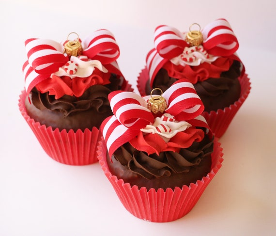 Jumbo Faux Cupcake Ornament Peppermint Holiday Party Wedding Baby Shower Favors Decorations