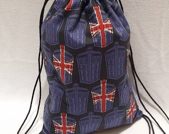 Doctor Who British Flag TARDIS Drawstring Backpack
