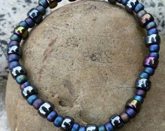 Rainbow Shimmer Black Bracelet