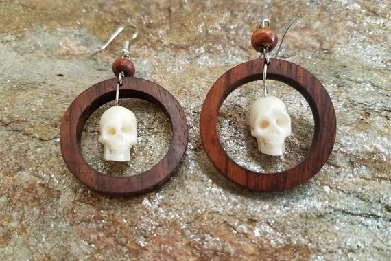 Unique and Stylish Handmade Earrings Hand Carved Wooden Earring Jewelry Medieval Skull Earrings by Crown Republic