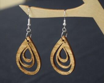 Teardrop - Laser Cut Wood Earrings