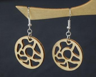 Circle Amoeba - Laser Cut Wood Earrings
