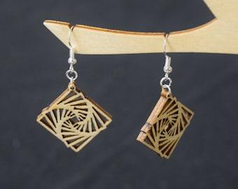 Square Spiral - Laser Cut Wood Earrings
