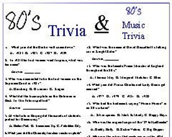 photograph relating to 80's Trivia Questions and Answers Printable referred to as 80s Etsy