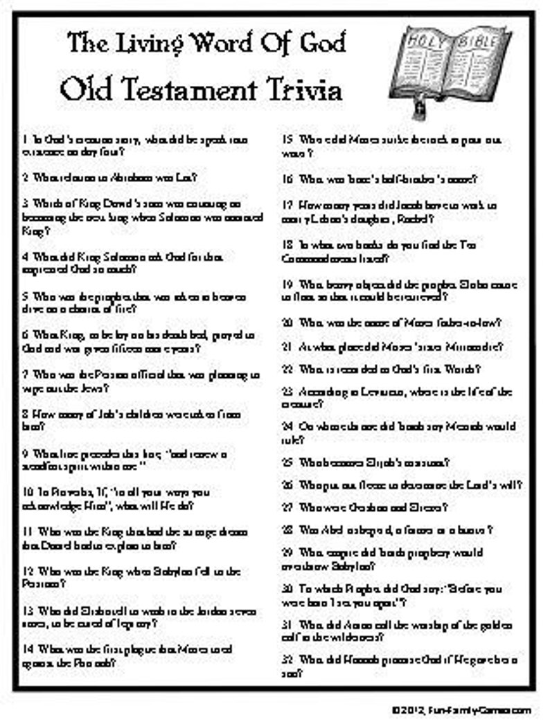 photo relating to Free Printable Christmas Bible Trivia named Bible Trivia, Both of those Outdated and Clean Testomony