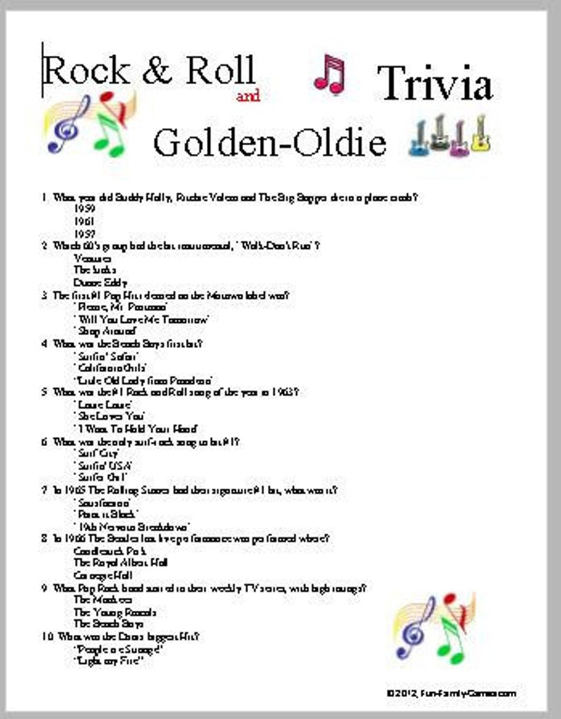 image regarding 1950 Trivia Questions and Answers Printable named Rock Roll AND Golden-Oldie Trivia