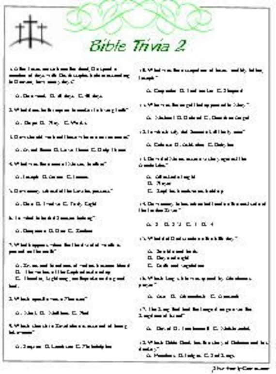 It is a photo of Printable Bible Trivia within beginner