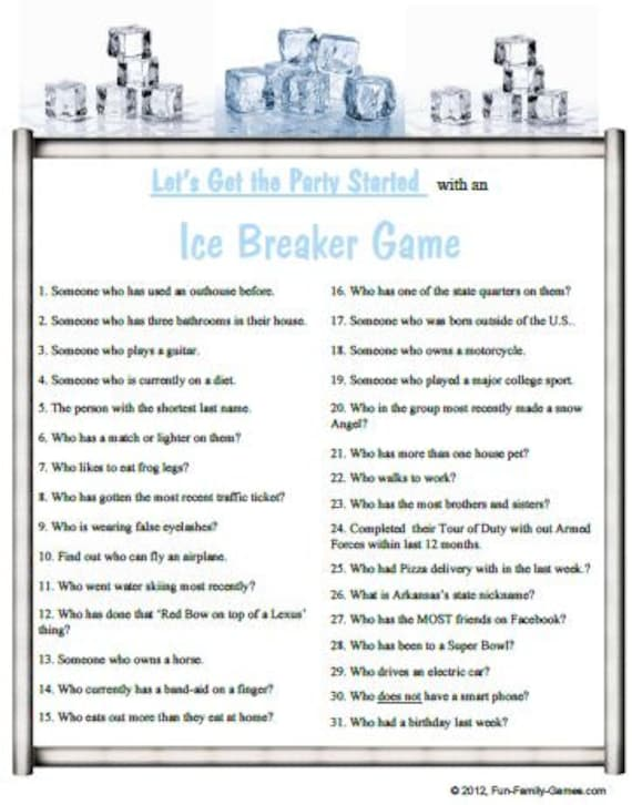 Four Ice-Breaker/Party Games