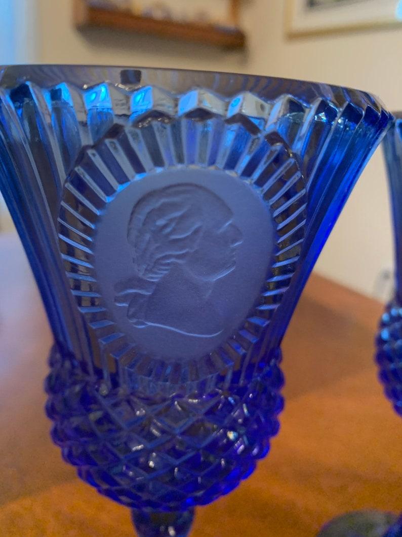 George /& Martha Washington by Avon Cobalt Blue Goblets