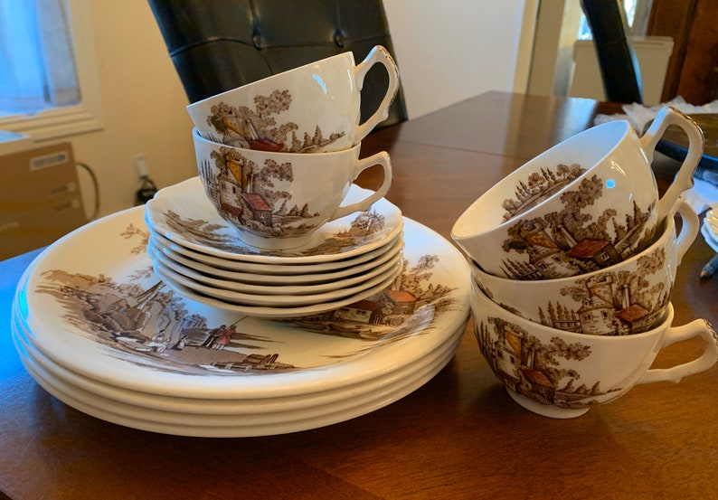 Snack Plates The Old Mill Cups 15 Pieces Saucers by Johnson Brothers