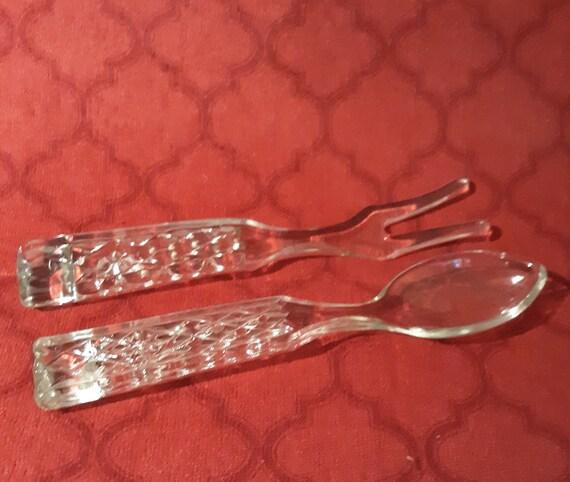 Vintage Crystal Glass Salad Set Serving Fork and Spoon