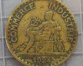 France - 1924 Bon Pour One Franc Coin - World Coins