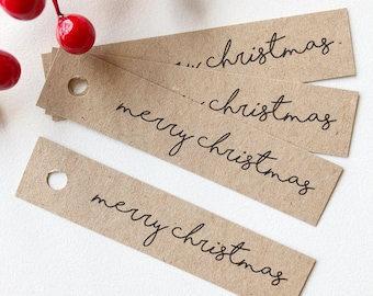 Merry Christmas Tags Pk10 - Rustic Kraft Brown