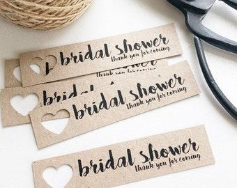 Bridal Shower Tags Pk10 - Rustic. Kraft Brown.