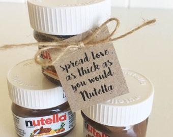 Nutella Jar Tags Pk10 - Mini Nutella Jars. Favour Tags. Rustic.