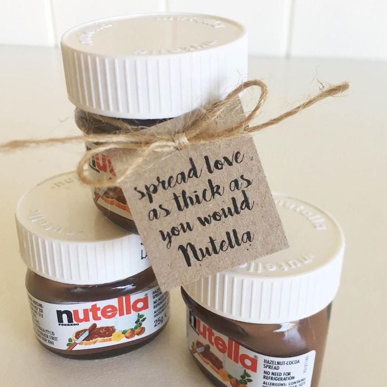 Nutella Jar Tags Pk10 - Mini Nutella Jars  Favour Tags  Rustic