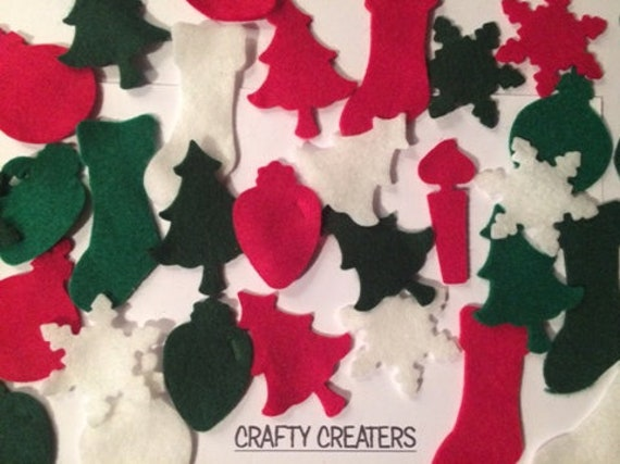 Christmas Die Cut Craft Embellishments 6 Felt Christmas Trees