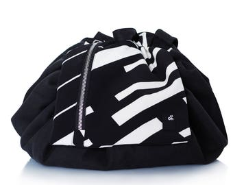 Trendy backpack BABY CHANGING, CONVERTIBLE, Black and White stripes, Baby shower gift, Pregnancy, Maternity
