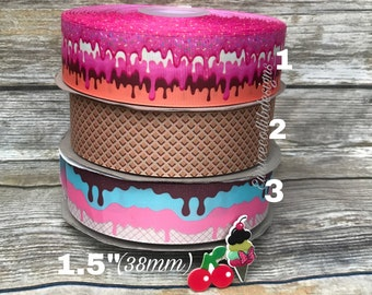 "1.5"" ice cream grosgrain ribbon"