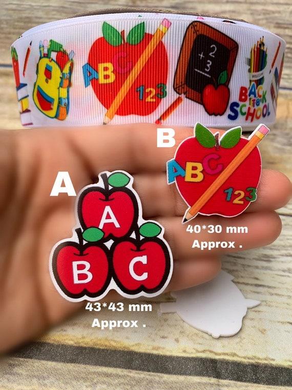 6 x ABC Back to School Flatback Resin Embellishment Crafts Cabochon *UK*