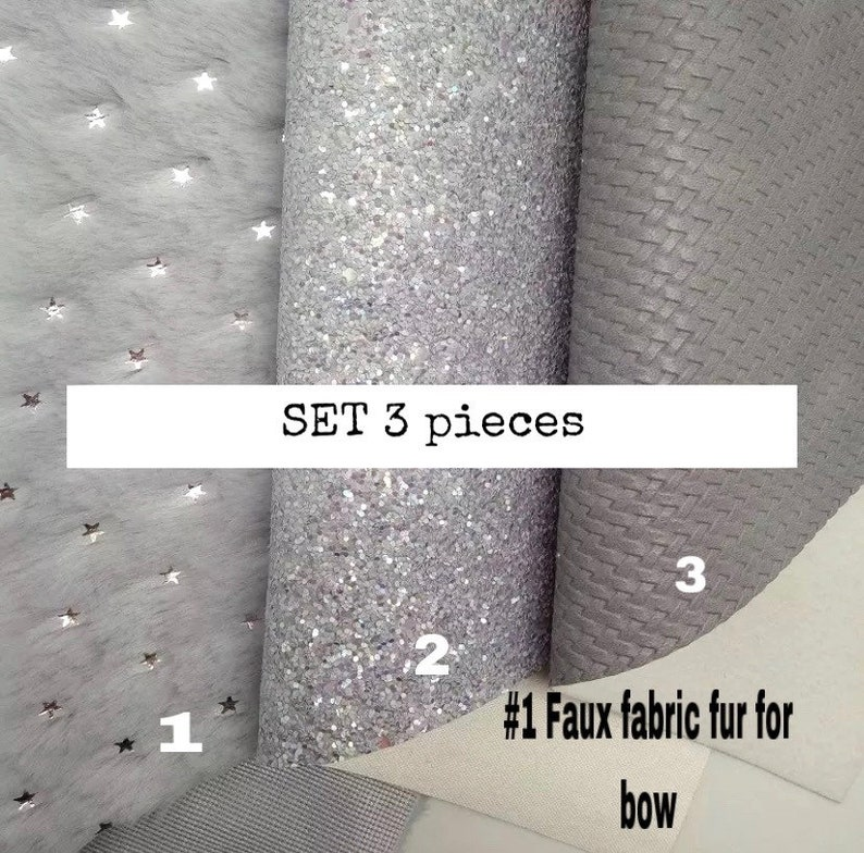 Silver glitter faux leather Silver glitter leather Silver faux leather 3 pcs Gray faux fabric FUR for bow . Silver faux leather