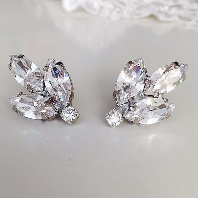 Bridal Vintage Style crystal Earrings Clear swarovski Clip On image 0