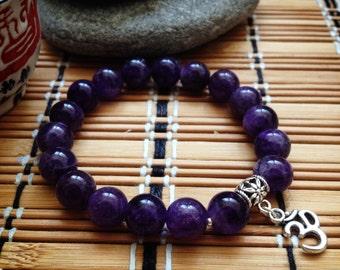 Amethyst Bracelet, Yoga Bracelet, Healing Bracelet, Healing Crystals, Amethyst, Om,Aum, Wrist Mala, Yoga Jewelry, Meditation, Spiritual