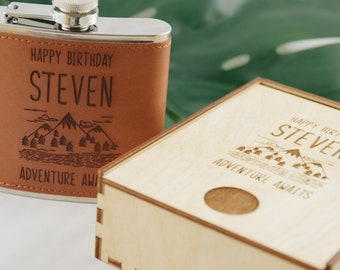 Birthday Engraved Flask For Him Gift Leather Men Boyfriend Dad