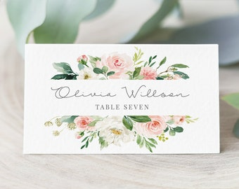 Cards printable etsy edit yourself wedding place card printable escort card template floral name card editable name card editable place card instant download solutioingenieria Images