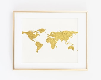 Gold world map etsy gold world map art print poster world map print faux gold art gold map travel decor gold white wall art map print gold map print gumiabroncs Choice Image