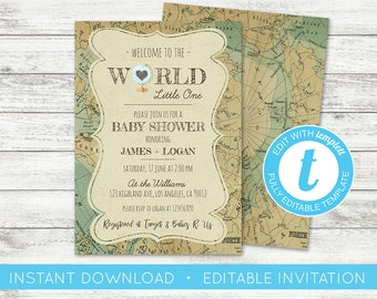 World map invite etsy edit yourself world baby shower invitation welcome to the world baby shower invitation travel map shower invitation globe baby shower diy solutioingenieria Image collections