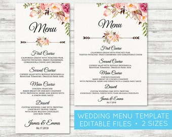 menu cards etsy