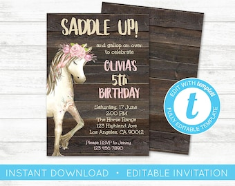 EDIT YOURSELF Horse Birthday Invitation Party Editable Invite Western Girl Country
